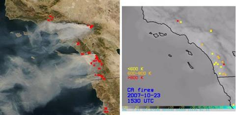 California fires synthetic ABI 3.9 μm w/ corresponding MODIS image.