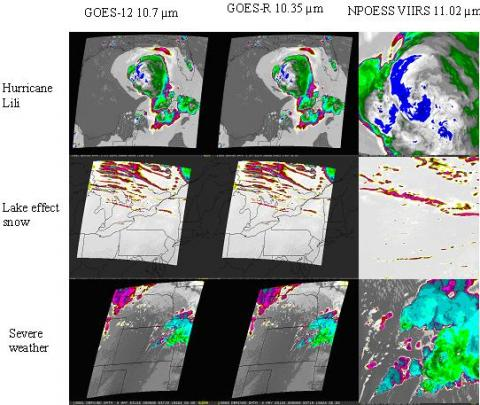 Selected synthetic imagery from three different weather events.